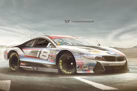 land rover bmw nascar needs a bmw i8 and land rover defender
