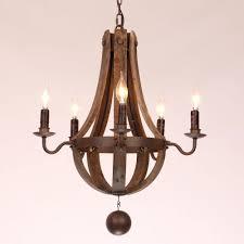 Wooden Chandeliers Lighting Lighting Country Wood Metal Wine Barrel Chandelier Lights