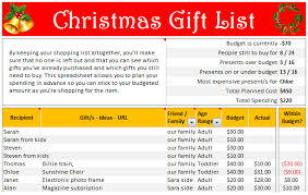 gift shopping list christmas gift list set your budget and track gifts using excel