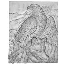 eagle and wolf bas relief 3d print model cgtrader