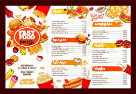 fast food restaurant menu template lunch dishes and drinks list