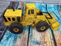 vintage mighty tonka front end loader usa pressed steel yellow toy