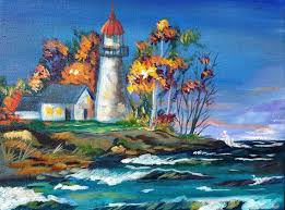 how to paint a lighthouse landscape with waves in the fall this acrylic painting tutorial of a lighthouse by the ocean is fully guided and in real time