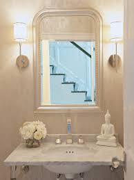 Polished Nickel Bathroom Mirrors by White And Silver Powder Room With Tall Board And Batten Trim