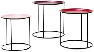 nest of coffee tables modern nest of tables 3 pcs shades of red lacquered matt black