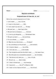 36 free esl prepositions of time worksheets for intermediate b1
