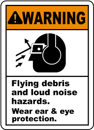 ansi z535 table 130 7 f flying debris and loud noise sign i2401 by safetysign com