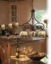 Lighting Kitchen Gorgeous Kitchen Island Lighting Design With Tiffany Stained Glass