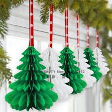 christmas decor for center table 27cm 6pcs handmade honeycomb christmas trees tissue paper trees