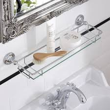 glass bathroom shelves milano ambience glass gallery bathroom shelf with chrome finish