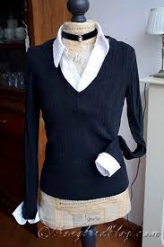 black sweater with white collar altered fashion black sweater with white cuffs and collar white