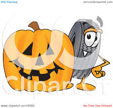 clipart picture of a rubber tire mascot cartoon character with a