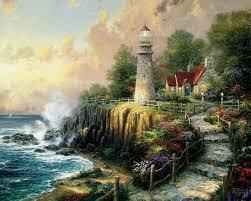 the light of peace kinkade painting sea lighthouse