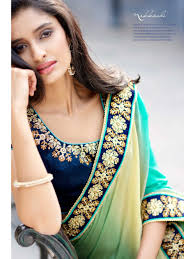 Combination Of Blue by Complete Saree In Satin With Self Jacquard With Shading In The