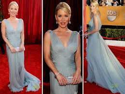 applegate looked beyond gorgeous in her sky blue roberto cavalli gown