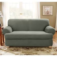Sure Fit T Cushion Sofa Cover Sure Fit Stretch Suede Sofa 2 Piece T Cushion Slipcover U2014buy Now