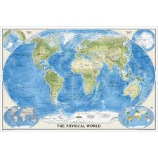 Map Paper World Physical Wall Map Enlarged National Geographic Store