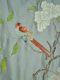 Teal Bird Curtains Gray Embroidered Bird Branch Faux Silk Fabric Sles