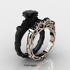 rose gold wedding set amethyst caravaggio 14k black and rose gold 1 25 ct princess black diamond