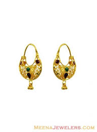 hoops earrings india 22k fancy meenakari hoop earrings erhp12272 22k gold fancy
