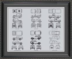 Wall Blueprints by Jeep Automobile Blueprint Art Wall Hanging Auto Car Gift