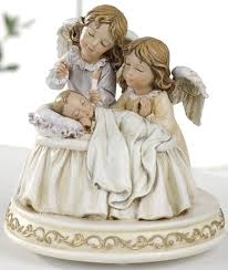 baptism figurines musical baby with figurine 32206