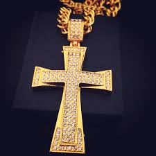 large crucifix iced out cross necklace yellow gold filled zircons large crucifix