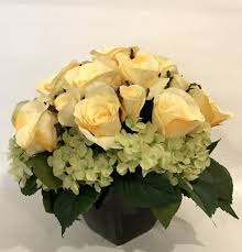 flower arrangement pictures with theme silk rose and hydrangea arrangement in ceramic vase yellow and