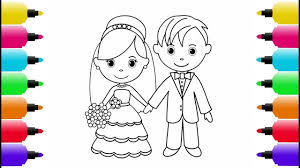 draw bride groom coloring pages kids