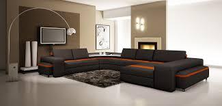 Orange Leather Sectional Sofa Divani Casa 5030 Modern Black And Orange Leather Sectional Sofa