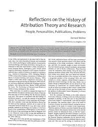 reflections on the history of attribution theory and research