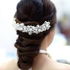 bridal hair clip beautiful rhinestone decorations petal for wedding hair