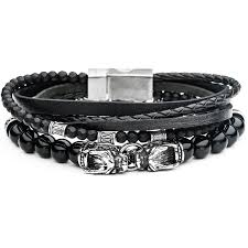 leather black bracelet images Black dragon mens bracelet stack black leather bead w steel dragons png