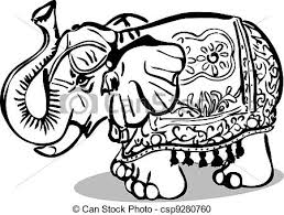 vector clipart of statue of an elephant with ornament black and