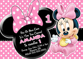 pink and black polka dot minnie mouse first birthday invitations