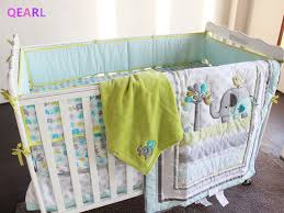 8 pieces baby bedding set embroidery 3d elephant bird baby crib