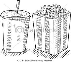 vectors illustration of movie popcorn and soda sketch doodle