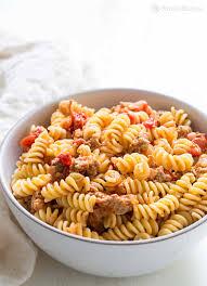 pasta with turkey sausage and smoked mozzarella recipe
