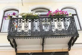 beautiful balcony iron beautiful balcony european traditional architecture stock