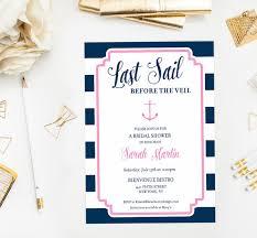nautical bridal shower invitations last sail before the veil nautical bridal shower invitation