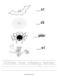 write the missing letter worksheet twisty noodle