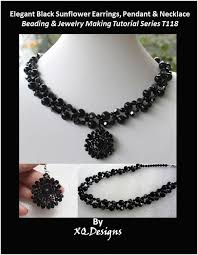 black beaded pendant necklace images Elegant black sunflower earrings pendant necklace beading jpg