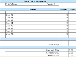report card format template homeschool printable report card template microsoft excel