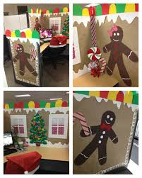 compact christmas office theme party ideas train door decorating