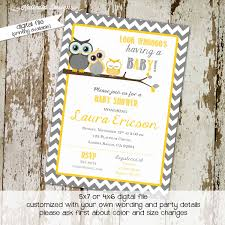 owl baby shower invitations owl invitation with gray and yellow