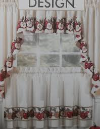 amazon com 3pc kitchen cafe apple curtain tier swag set window