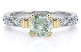 green amethyst engagement ring 1 carat deco green amethyst engagement ring