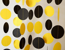 Black and Yellow Paper Garland Graduation Decorations Bumble