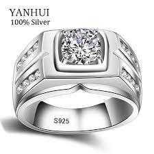weddings rings silver images Yanhui original natural 925 silver rings for men sona 1 carat jpg