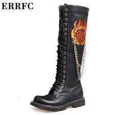 fashion motorcycle boots errfc designer fashion motorcycle boots for men black 47cm long punk